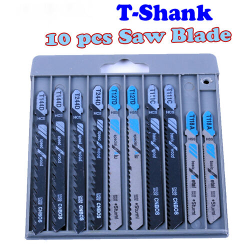 1 Pack 10pc New HCS T-Shank Curved Woodworking Fast Cutting Jig saw Blades