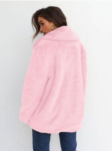Fashion Womens Parka Fit Ladies Jacket Loose Coat Cardigan Teddy Bear Faux Fur