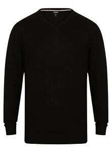 MENS-COTTON-BLEND-V-NECK-JUMPER-WOOL-LOOK-KNITWEAR-NEW-BLACK-SMART-FORMAL-CASUAL