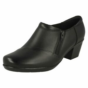 Black Trouser Leather Block Emslie Claudia Ladies scarpe Smart Up Zip Heeled qCvwTPBx