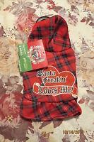 Adorable Bret Michaels Pet Holiday Plaid Christmas Doggie Hoodie Sz Xsmall