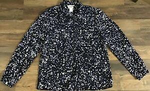 Pendleton-Womens-Long-Sleeve-Navy-Purple-White-Floral-Blouse-Size-8-EUC