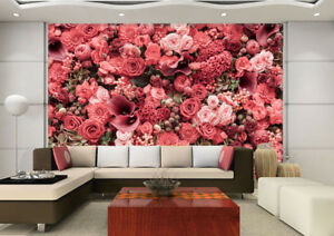 3d nice pink flowers 7 wall paper murals wall print wall wallpaper image is loading 3d nice pink flowers 7 wall paper murals mightylinksfo