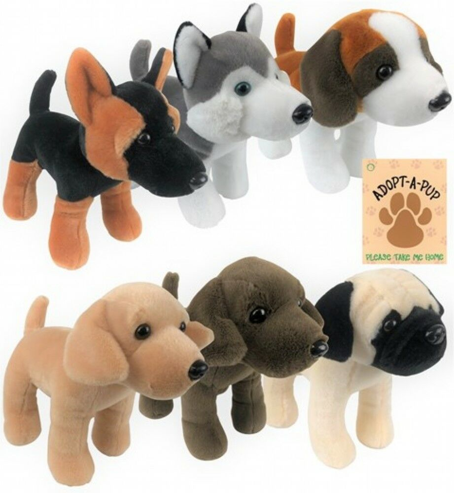STANDING DOGS 6 ASSORTED - 340-631 REALISTIC CUTE SOFT ANIMAL CUDDLY PLUSH TEDDY