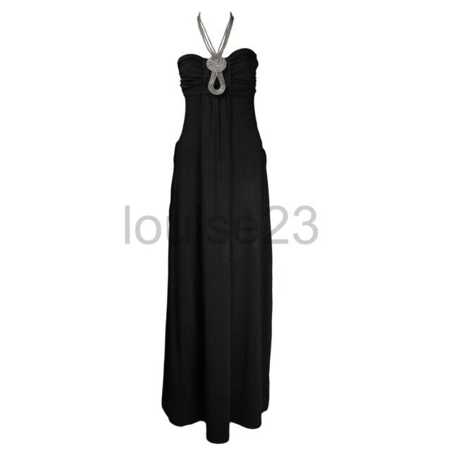 SEXY GLAMOROUS NECKLACE JEWEL STONES MAXI DRESS 8-14