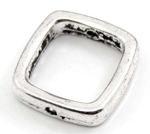 30 Antiksilber Quadrat Spacer Rahmenperlen für 10mm Perlen Beads LP