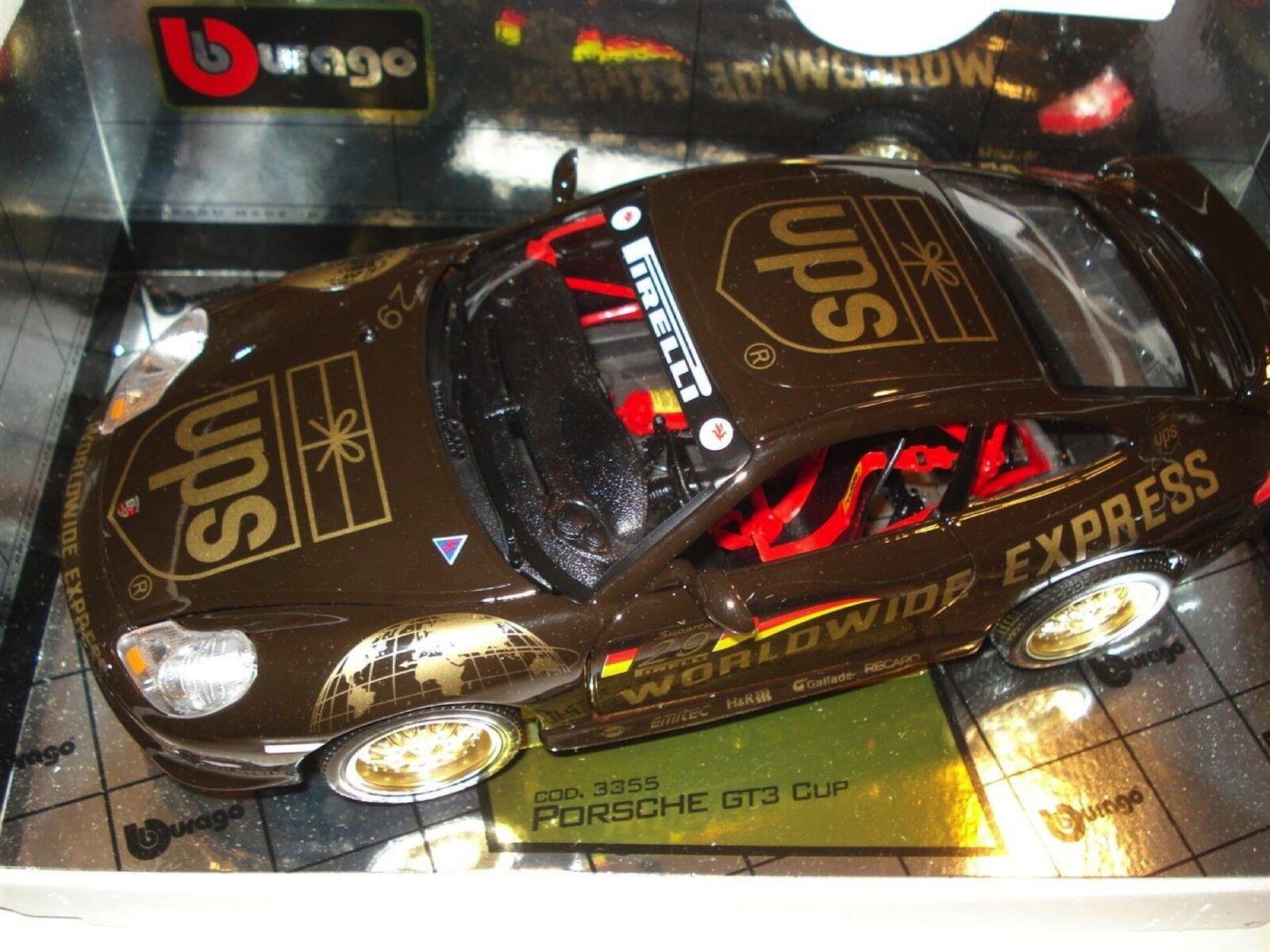 60% de descuento Bburago Colección De oro oro oro (Italia) Porsche 911 GT3 Cup (UPS Worldwide Express) 1 18  ventas de salida