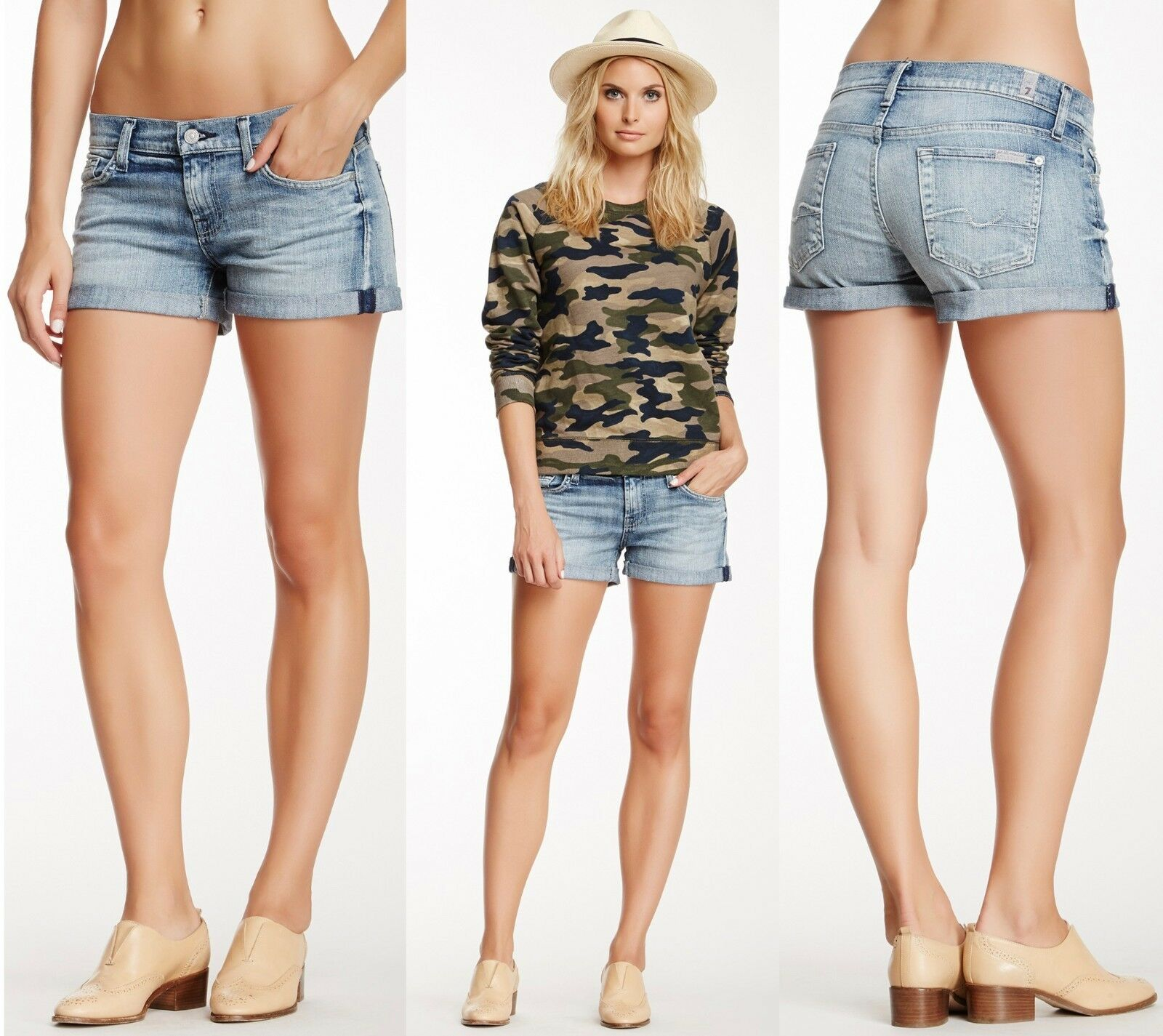 158 7 For All Mankind Fold Over Cuff Condell bluee Distressed Jeans Denim Shorts