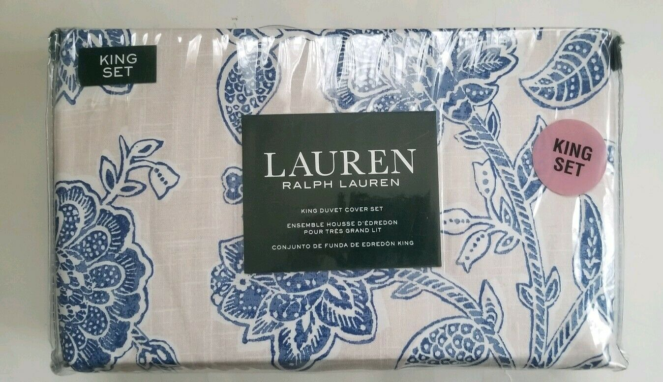 New Ralph Lauren 3 pc King Duvet Cover Set floral Blau cream