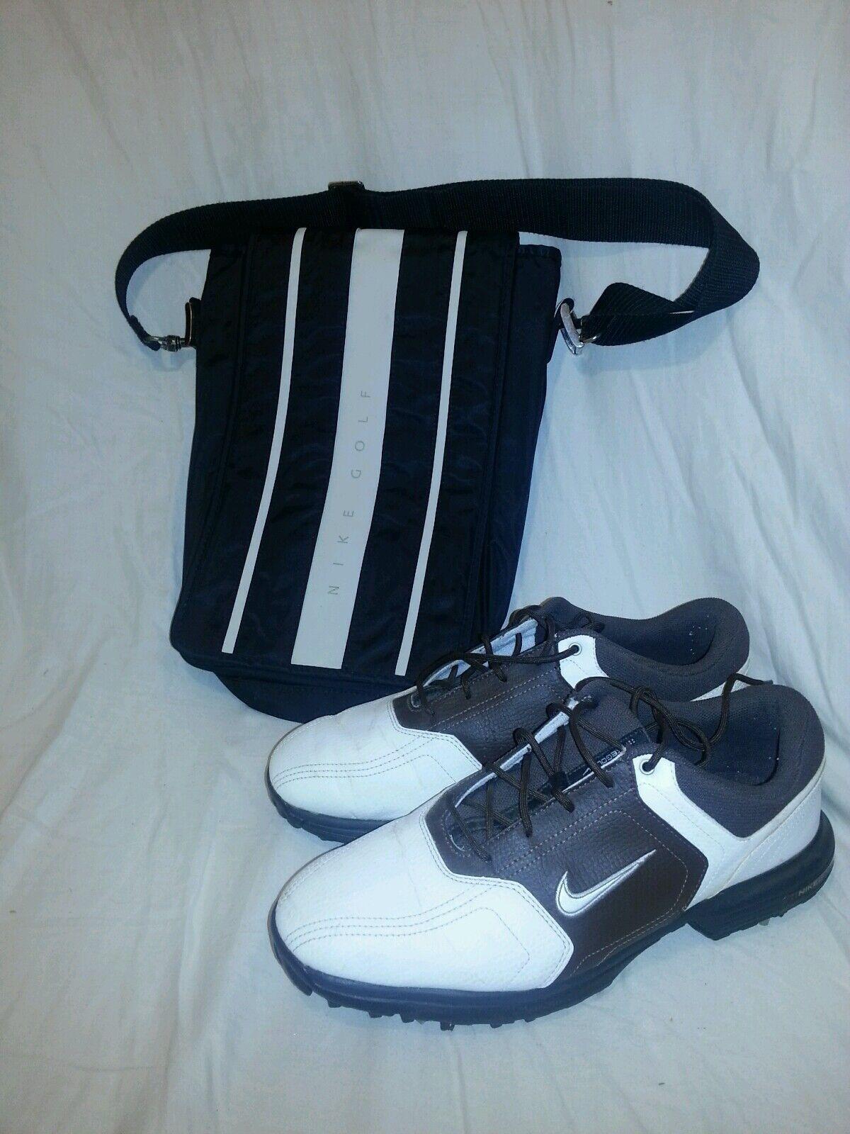 Para hombres Cuero CHANNEL Marrón Blanco NIKE POWER CHANNEL Cuero Golf Zapatos  Botines Usado en excelente condición libre bolsa d13a8a