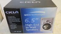 Speco Sp-6clw 2-way In-wall Speaker Pair 6.5 Molded Woofer 1 Titanium Tweeter