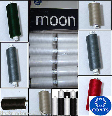 MOON THREAD-10 X 1000 YDS POLYESTER SEWING THREAD,VARIOUS COLOURS