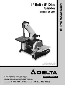 delta 31 080 1 belt 5 disc sander instruction manual ebay rh ebay com