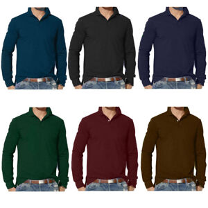 Mens-Clothing-Long-Sleeve-Plain-Polo-Shirt-S-M-L-XL-2XL-3XL-Custom-Fit-Top