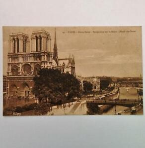 Antique-Postcard-View-of-Notre-Dame-From-The-Seine-Paris-France-by-Patras-No-49
