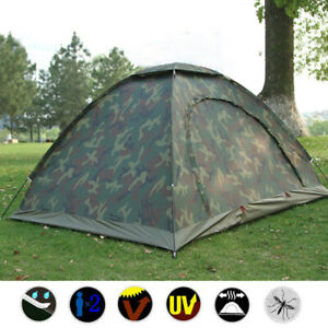 Camp Outdoor Camping Waterproof 2Person Folding Tent Camouflage Hiking UK STOCK
