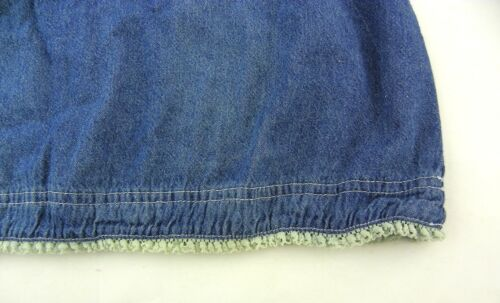 CUTE GIRLS SIZE 7T-8T Ruched front and Lace cuff hem DENIM DRESS Sundress size 8