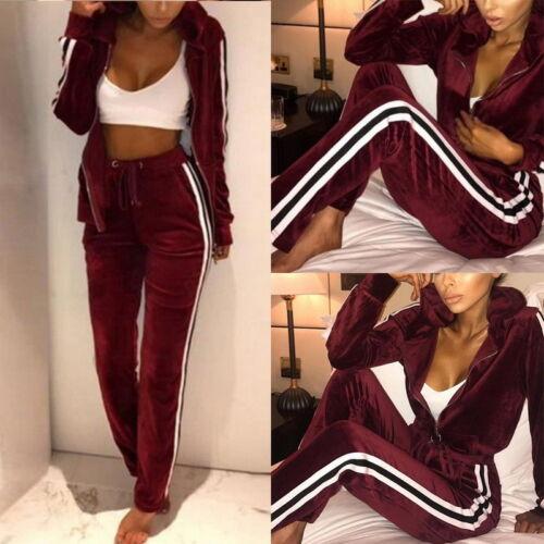Women/'s Velvet Tracksuit Set 2pcs Tops+Pants Suit Winter Sweatshirt Hoodies XXL