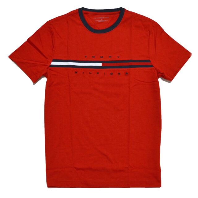 tommy hilfiger mens signature logo crew neck t shirt xs s m l xl 2xl regular 2xl red for sale