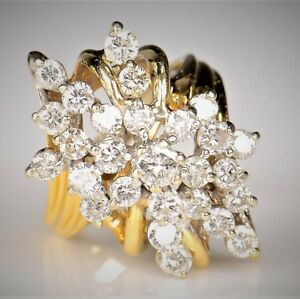 Huge-1-50-Carat-Diamond-Cluster-14K-Yellow-Gold-Finish-925-Silver-Cocktail-Ring