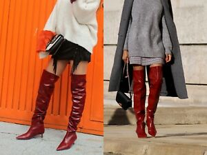 Details about ZARA BLOGGER OVERKNEE STIEFEL ROT LEDER BOOTS LEATHER RED 36 37 38 39 40