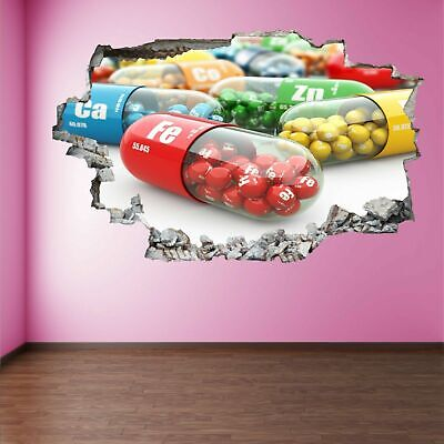 Vitamin Mineral Diet Nutrients Capsules 3d Wall Art Sticker Mural