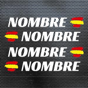 4-x-BANDERA-ESPANA-NOMBRE-PEGATINA-VINILO-CASCO-BTT-BICICLETA-PERSONALIZABLE