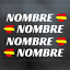 4-x-BANDERA-ESPANA-NOMBRE-PEGATINA-VINILO-CASCO-BTT-BICICLETA-PERSONALIZABLE miniatura 1