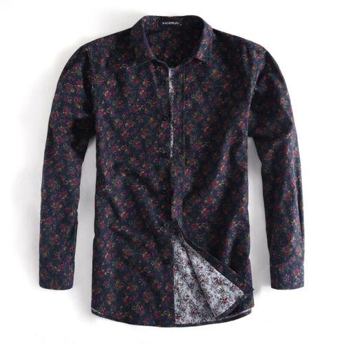 Men/'s Luxury Long Sleeve Vintage Floral Casual Shirt Slim Fit Dress Shirts Tops