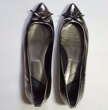 Karl Lagerfeld Silver Metallic Faux Leather Shoes Flats Pumps Ballet UK 6 EU 39