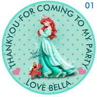 """Personalised Disney Princess Ariel  Round  15 Stickers Party Thank You Seals 2"""""""
