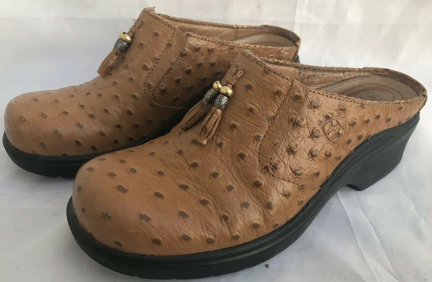 ARIAT Womans Brown Leather Ostrich Type Slip On Mules Clogs Size 9B 93841
