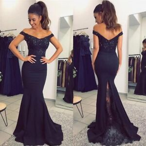 Details About Navy Blue Wedding Dresses Off Shoulder Mermaid Beading Plus Size 0 4 8 12 16 18