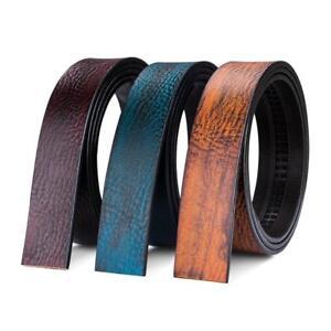Luxury-Men-039-s-Belt-Blue-Yellow-Coffee-Genuine-Leather-Only-Belts-No-Buckles