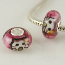 925 Sterling Silver Core, Murano Lampwork Glass Cat, Kitty Cat Charm Bead