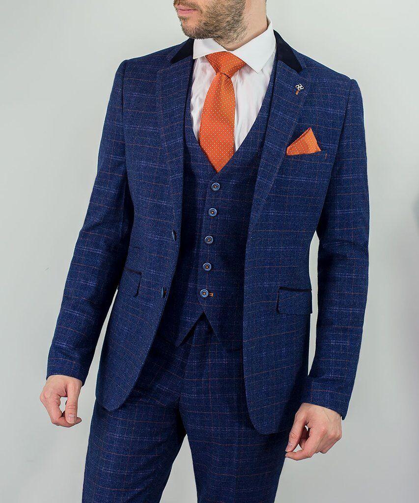 herren Cavani Kaiser Blau 3 Piece Tweed Check Suit Slim Fit Wedding Peaky Blinders