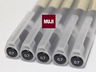 MUJI Gel Ink Pen 0.5 mm BLACK 5 pcs MOMA GENUINE form Japan F//S