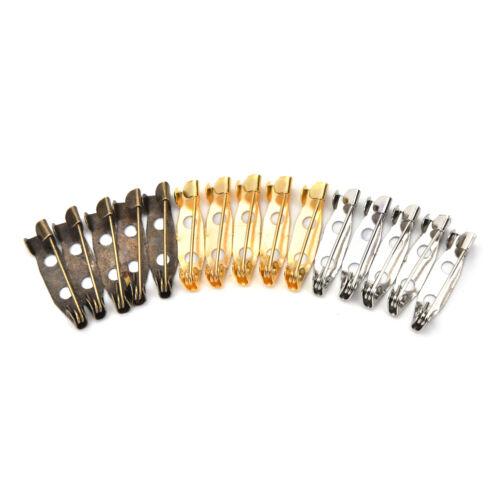 50pcs Safety Brooch Catch Bar Locking Pins Back Base Findings DIY Craft 20mm YH