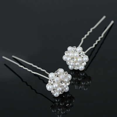 COOL 20/40PCS Wholesale Wedding Bridal Flower Crystal Hair Pins Clips Bridesmaid