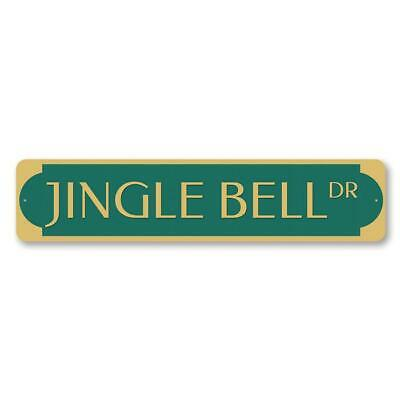 Jingle Bell Drive Holiday Home Decor Personalized Metal Sign
