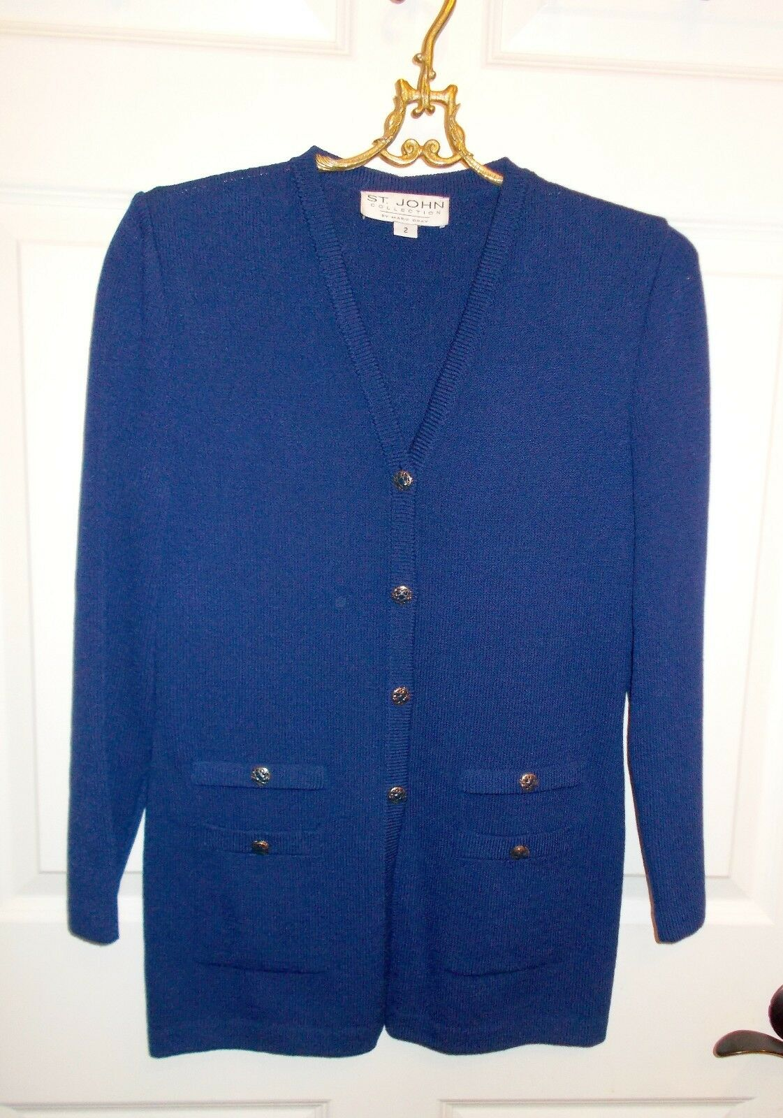 St. John Collection Royal bluee Tunic Length Cardigan Sz 2