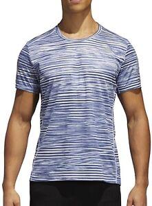 Adidas Response Print Mens Short Manche Running Top-blue-afficher Le Titre D'origine