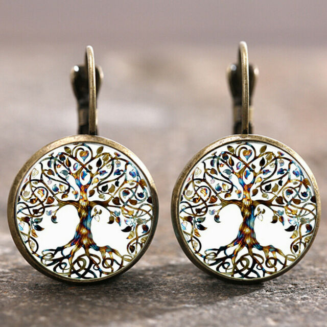 1 pair Tree of Life Trendy Bronze Trendy Glass cabochon 18 MM Lever Back Earring