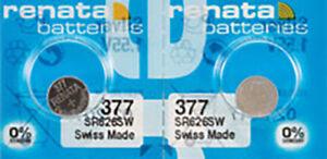 2x Renata 377 Watch Batteries, 0% MERCURY equivilate SR626SW 626 , Swiss Made