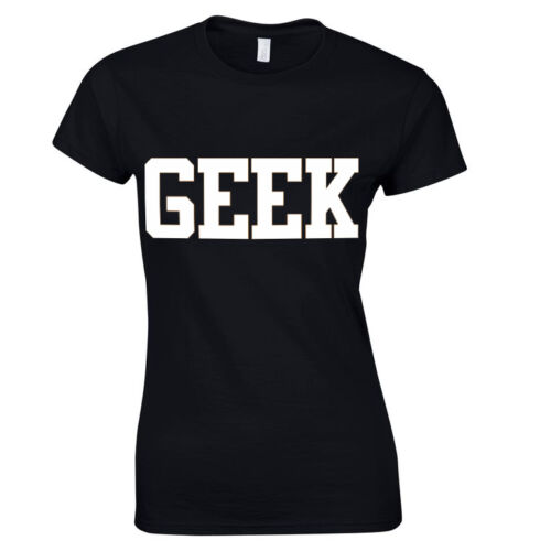 Womens GEEK Print Girls Celebrity Ladies T Shirt Top Sizes 8 10 12 14 16 18 NEW