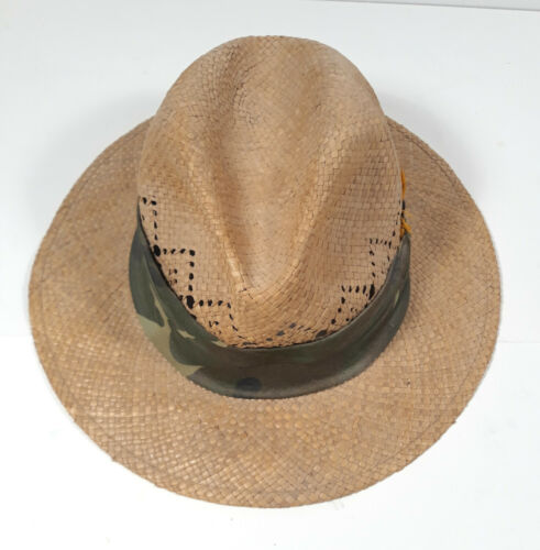 Happy Cappers Men's Straw Hat with Camo Scarf Size