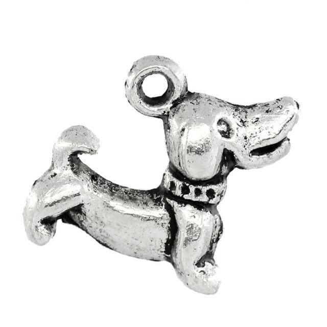 50PCs Gift Charm Pendants Dog Silver Tone 18mmx15mm