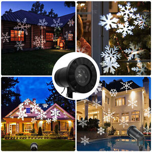 Led laser lumi re projecteur flocons de neige blanc ext rieur eclairage jardin ebay for Laser lumiere exterieur