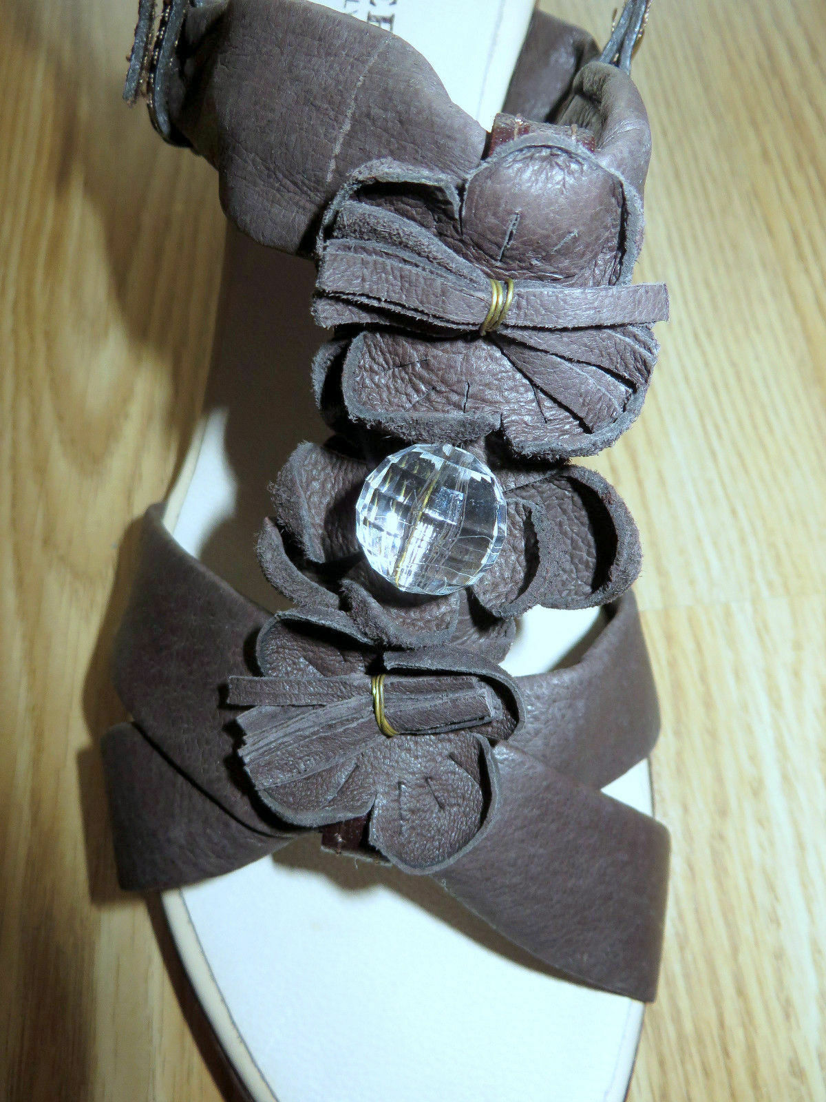 Prativerdi Leder-Sandaleetten in braun, Gr. 41, Made in , NEU