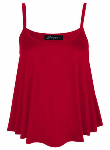 Womens Sleeveless Swing Vest Top Strappy Ladies Plain Cami Crop Top